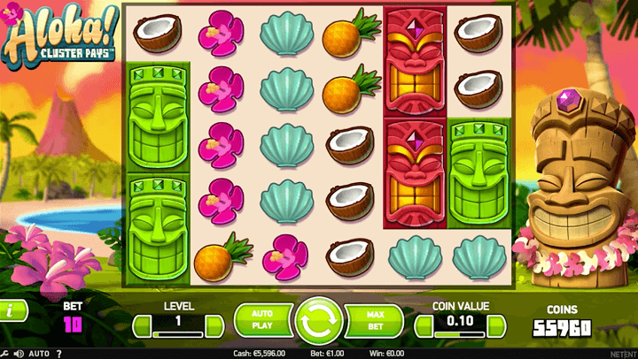 Aloha : Cluster plays Net ent slot machine