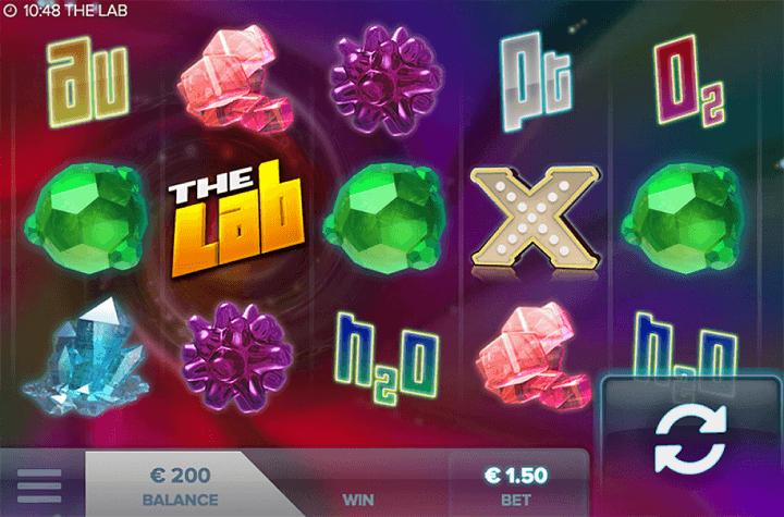 The Lab spilautomat har 5 hjul og 3 rækker, 15 gevinstlinjer og flere bonusfunktioner.