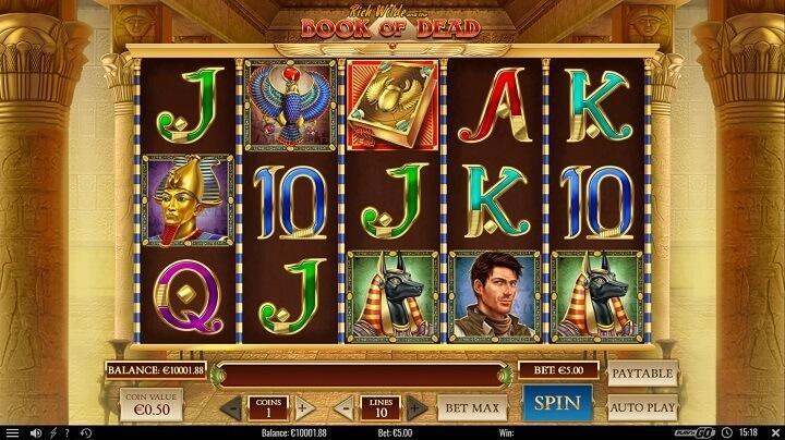 Book of Dead har Rich Wilde som hovedperson. Følg ham igennem spillet og aktiver bonusspilene for at spinde de store gevinster.