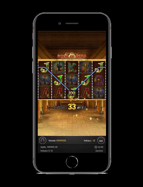 56/5000 Skærmbillede af Book Of Dead spillemaskine fra en iPhone 8