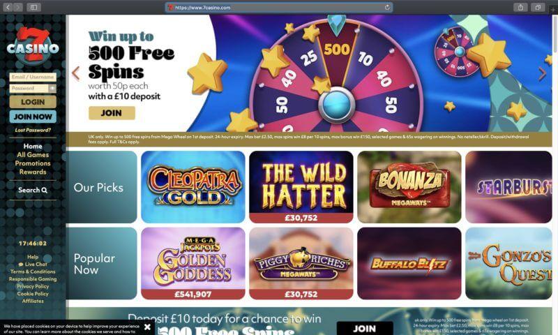 7 Casino home page