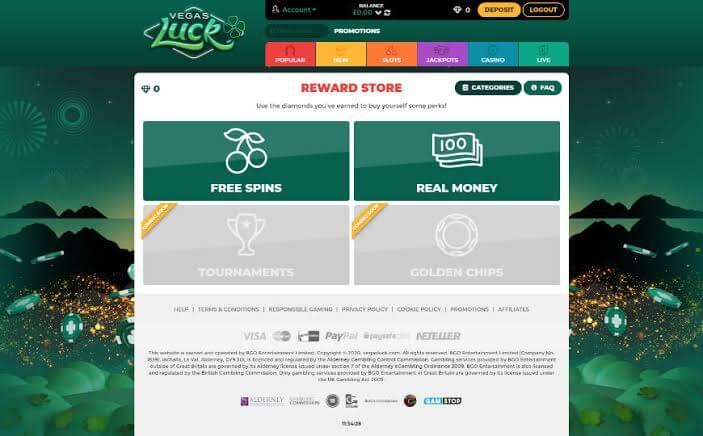 Vegas luck casino loyalty reward
