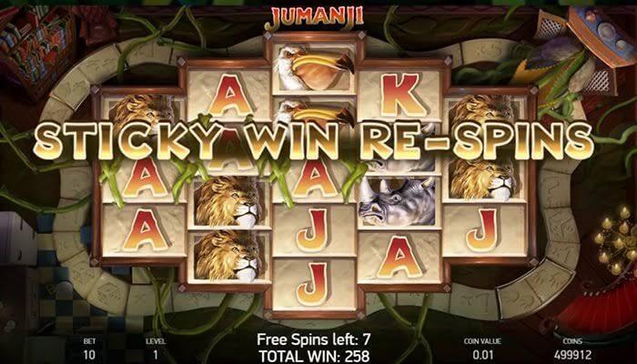 Jumanji slot free spin