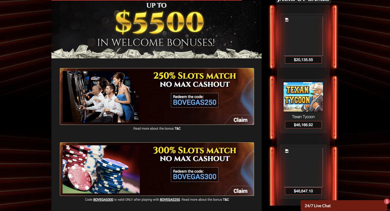 bovegas casino welocme bonus